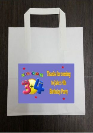 4 x Numberjacks Birthday Party Bags with Personalised Sticker